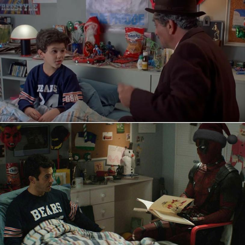 Due scene a confronto dei film C'era una volta Deadpool e La storia fantastica con Fred Savage da bambino e da adulto nella stessa posizione.