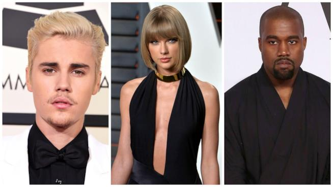 Primo piano di Justin Bieber, Kanye West e Taylor Swift