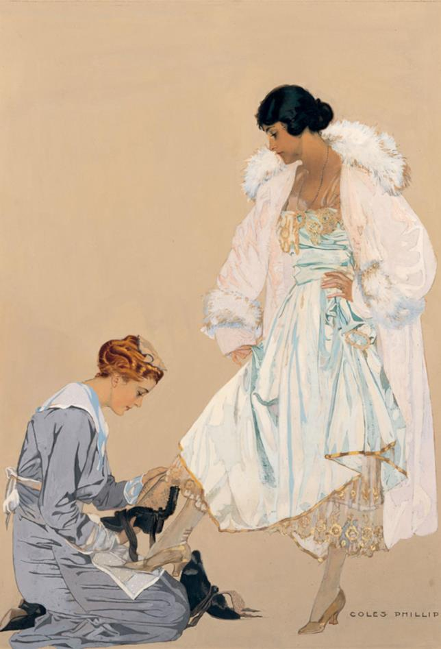 "Coles Phillips' 1916""High Fashion (Maid & Lady)"""