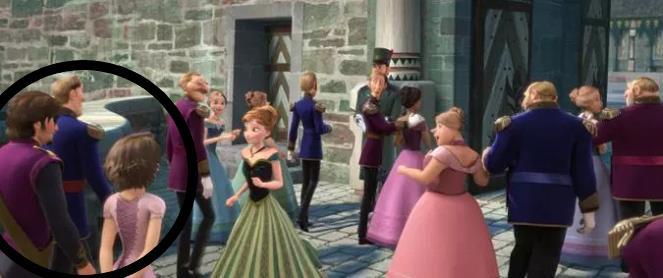 Rapunzel e Flynn all'incoronazione di Elsa