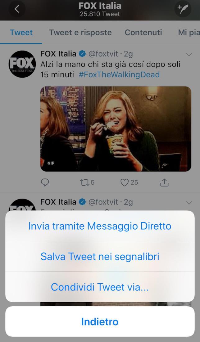 Come attivare la funzione Segnalibri su un tweet
