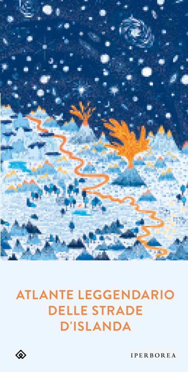 Un'illustrazione naturalistica sui toni dell'arancio e del blu è la copertina di Atlante Leggendario delle Strade d'Islanda