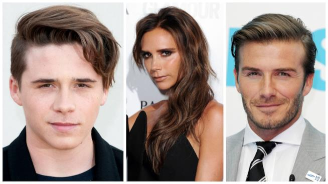 Primo piano di David Beckham e Victoria con Brooklyn
