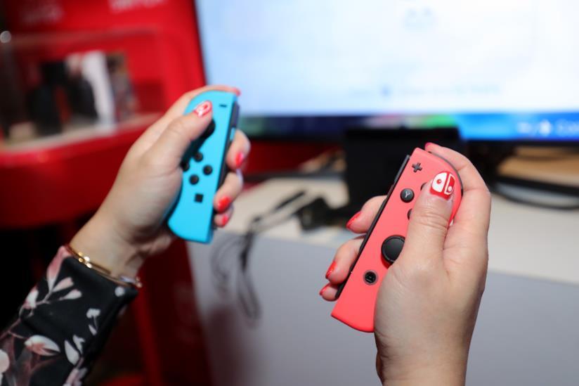 I controller di Nintendo Switch all'evento di presentazione della console, nel 2017