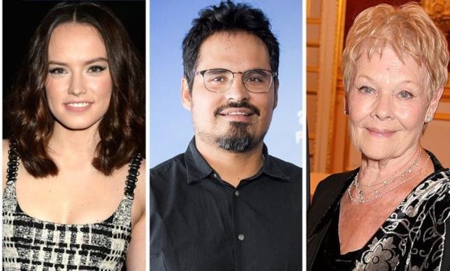 Gli attori Daisy Ridley, Michael Peña e Judi Dench