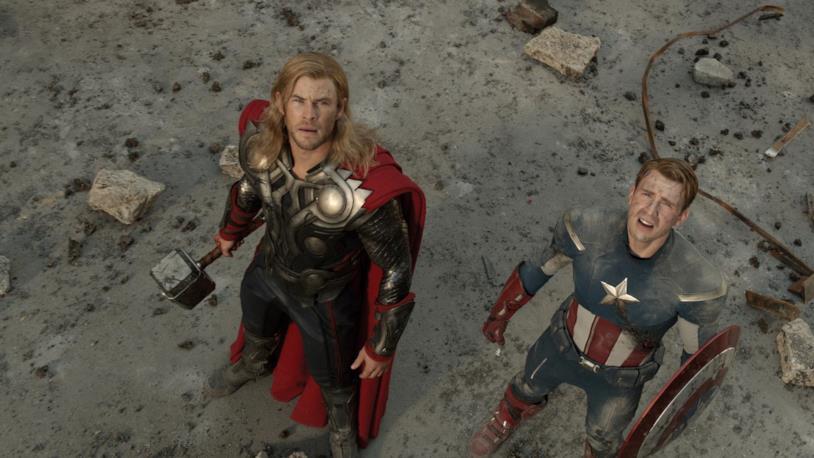 Thor e Capitan America in The Avengers