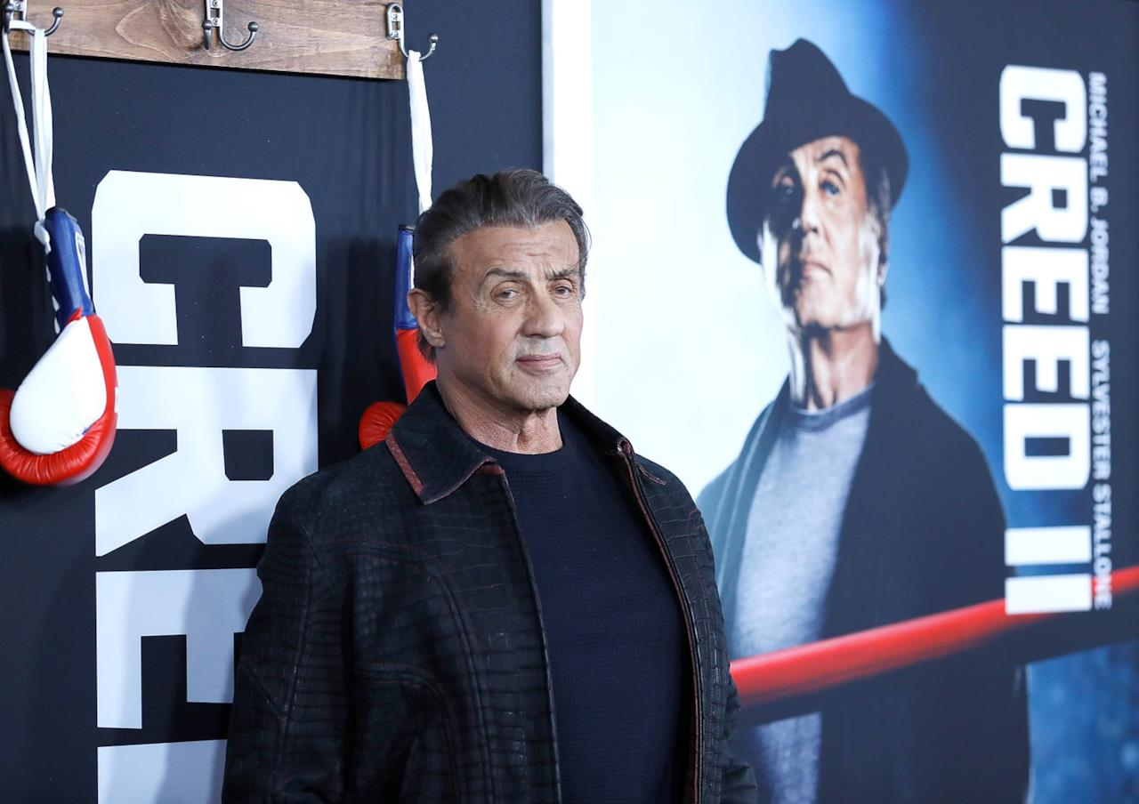 Sylvester Stallone, interprete di Rocky Balboa, durante la prima di Creed II a New York