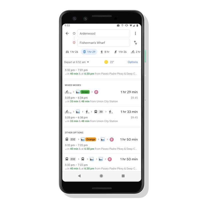 Le nuove schermate di Google Maps