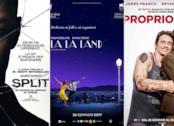 Le locandine dei film Split, La La Land e Proprio Lui?