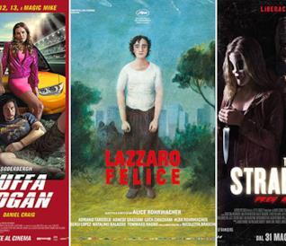 I poster dei film La truffa dei Logan, Lazzaro felice, The Strangers 2: Pray at Night