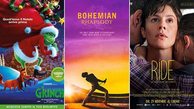 I poster dei film Il Grinch, Bohemian Rapsody, Ride