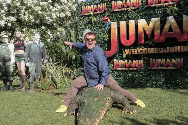 Jack Black sul coccodrillo robotico per Jumanji