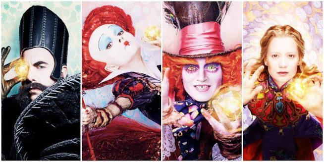 I quattro personaggi principali di Alice attraverso lo SpAlice attraverso lo Specchioecchio