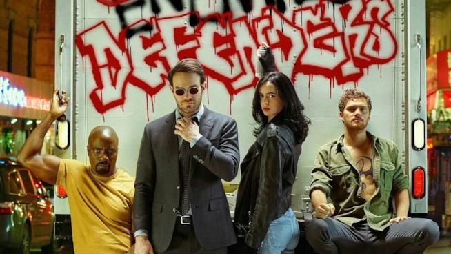 Un primo piano dei Difensori in un'immagine promozionale della serie Netflix