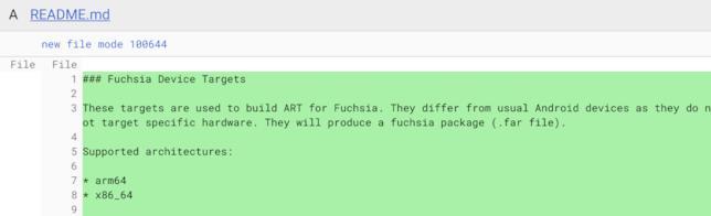 Screen del contenuto del file README riguardante Fuchsia OS