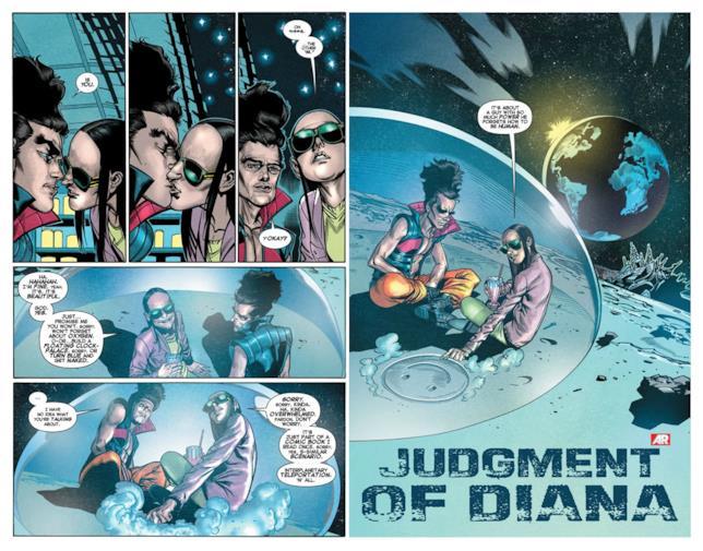 Legione e Blindfold in due pagine del primo volume di X-Men: Legion