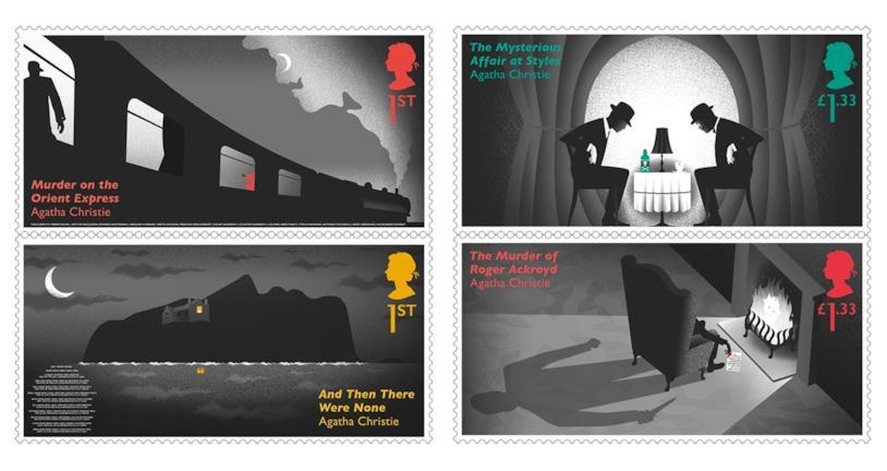 Gli speciali francobolli dedicati ad Agatha Christie