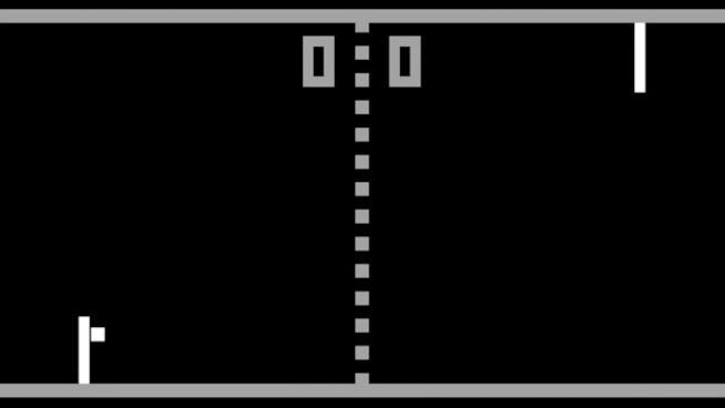 Una partita a Pong in GIF