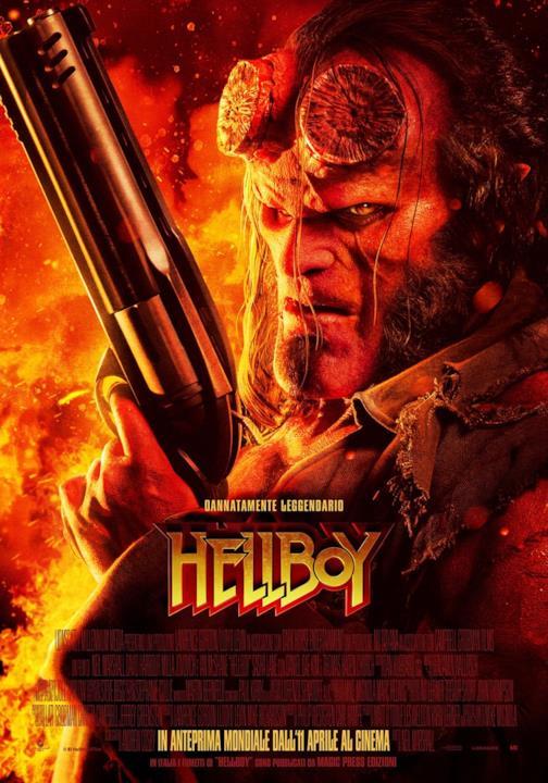 Hellboy sul poster inglese, con tanto di pistola