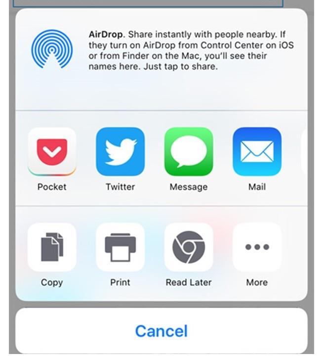 L'icona dell'app Pocket appare nel Share Menu dello smartphone