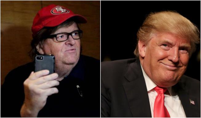 Collage Michael Moore e Donald Trump
