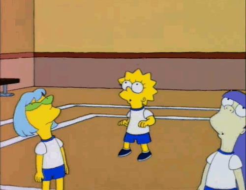 Lisa Simpson e la palla da volley bucata dai capelli