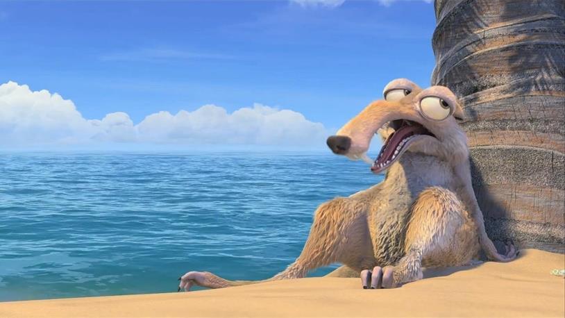 Lo scoiattolo Scrat su una spiaggia