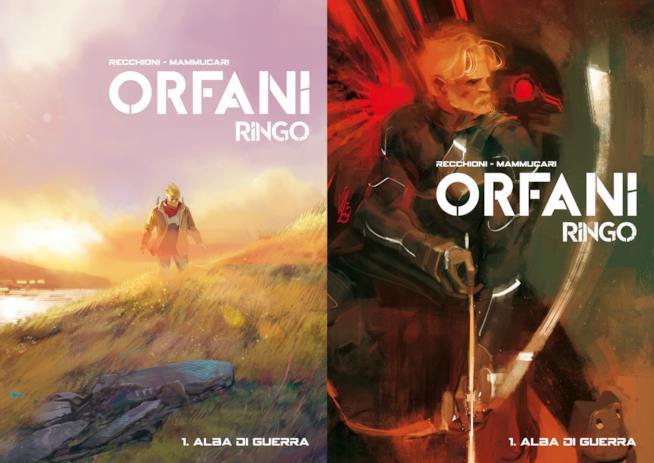 Le due copertine dell'edizione in volume di Orfani: Ringo 1