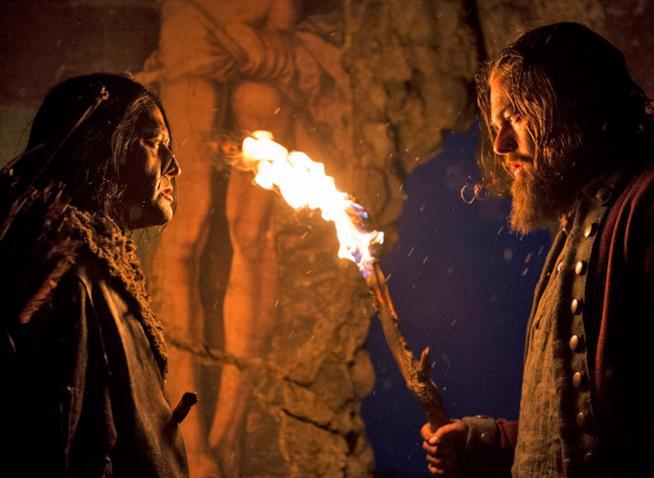 Leonardo di Caprio con Arhtur Redcloud sul set di Revenant - Redivivo