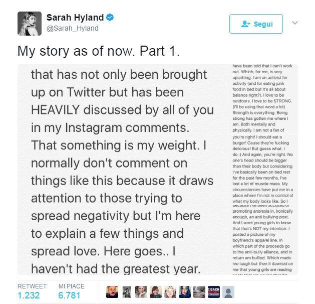 Sarah Hyland ha risposto alle critiche su Twitter