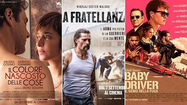 I poster dei film Il Colore Nascosto delle Cose, La Fratellanza e Baby Driver
