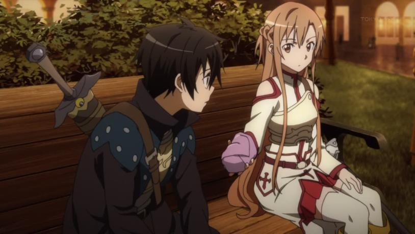 Kirito e Asuna su una panchina