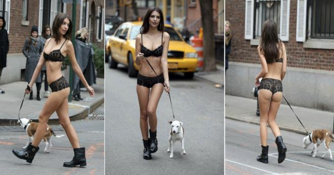 Collage delle pose di Emily Ratajkowski in intimo in giro per New York