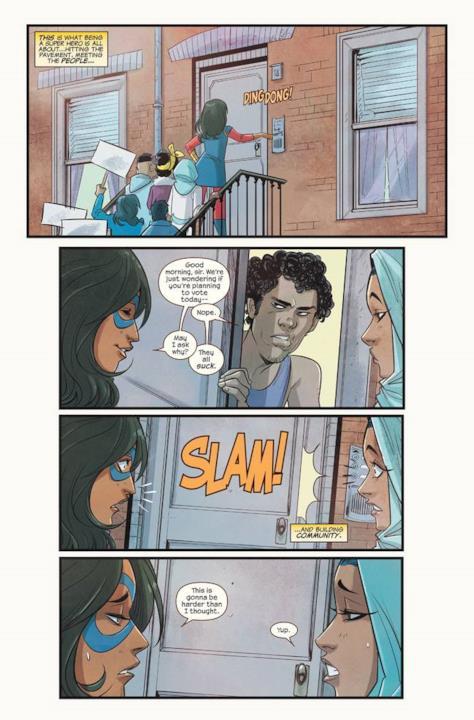 Ms. Marvel gira per le case per invitare al voto