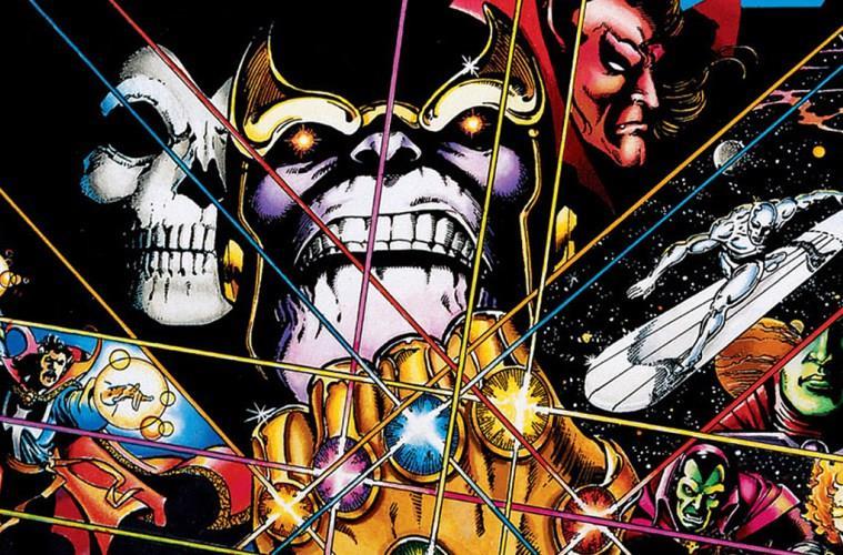 Un dettaglio della cover del fumetto Infinity Gauntlet