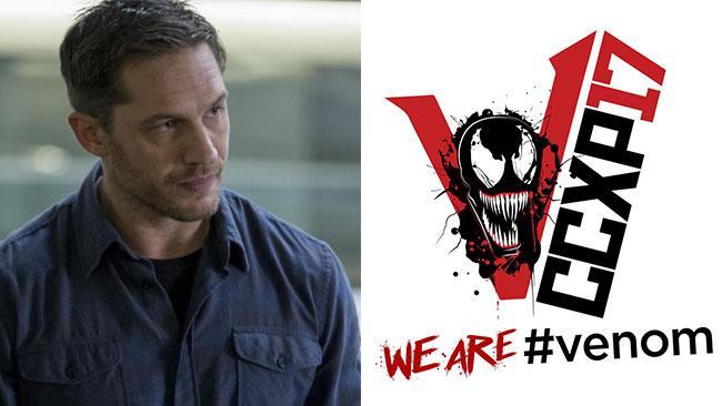 Eddie Brock e il logo del film di Venom