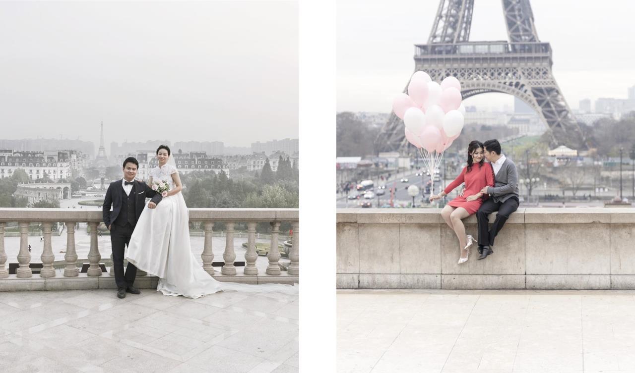 Una coppia di sposi in posa per una foto a Tianducheng (sinistra) e una coppia di innamorati a Parigi (destra)