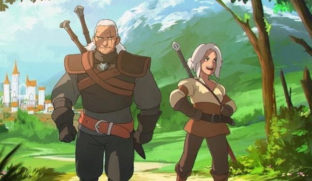 Witcher Geralt e Ciri disegnati stile Studio Ghibli