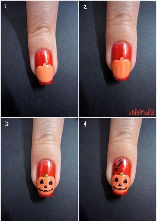 Il breve tutorial per realizzare una manicure con zucca ad hoc per Halloween