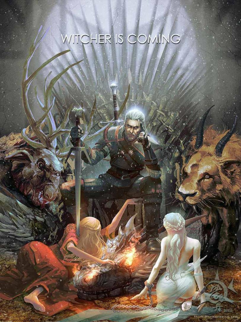 Geralt seduto sul Trono di Spade