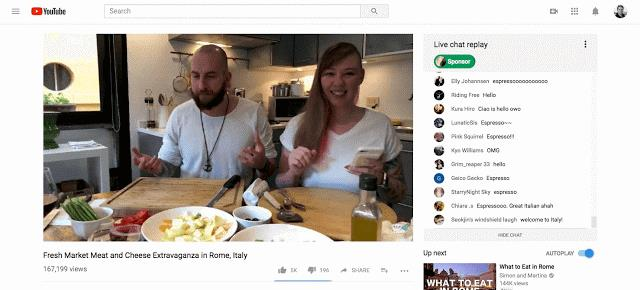 GIF che mostra il nuovo live streaming di YouTube