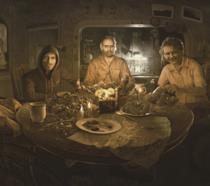 La famiglia Baker al completo cena in Resident Evil 7