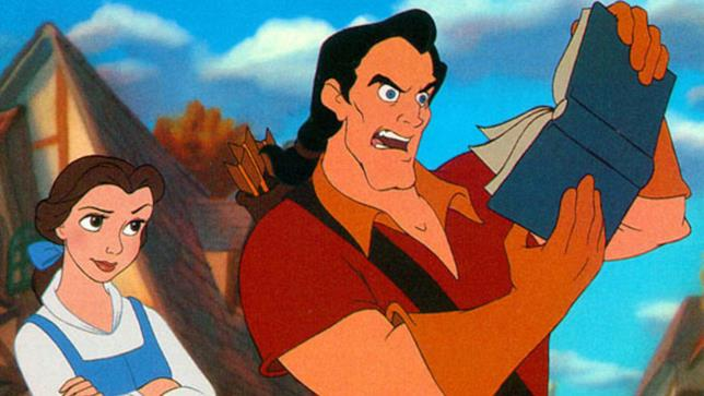 Belle e Gaston nel cartone animato de La Bella e la Bestia