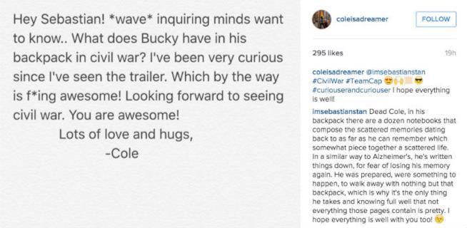 Sebastian Stan commenta lo zaino di Bucky