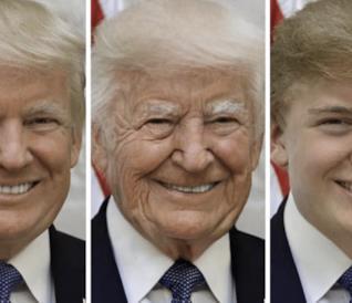 Il Presidente USA Donald Trump ritoccato con FaceApp