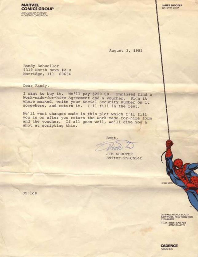 La lettera inviata da Jim Shooter a Randy Schueller