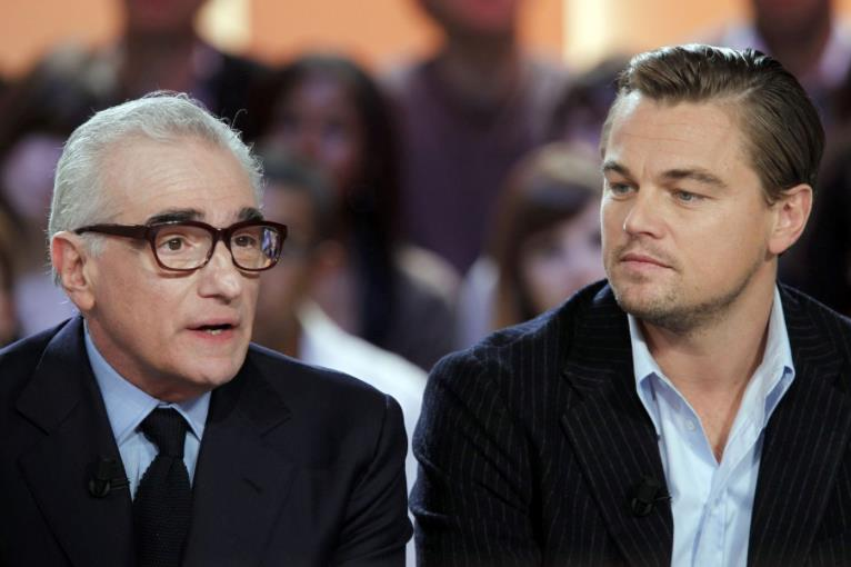 Un primo piano di Leonardo DiCaprio e Martin Scorsese