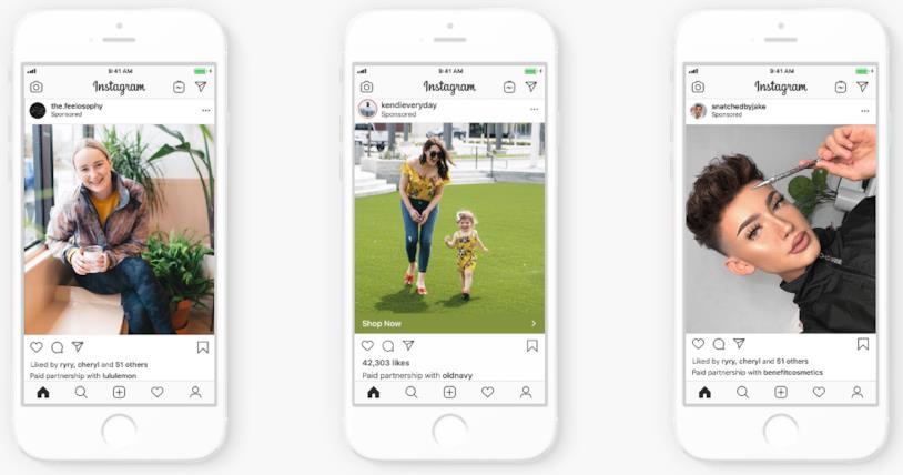 Esempi della nuova tipologia di post sponsorizzati su Instagram