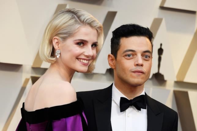 Rami Malek con Lucy Boynton alla cerimonia di premiazione degli Oscar