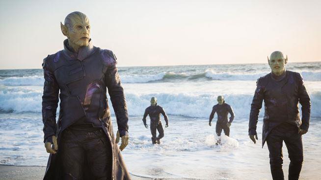 Gli Skrull che atterrano sul pianeta Terra nel film Captain Marvel